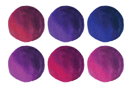 Watercolor Round Wine Color Circles Collection Illustration