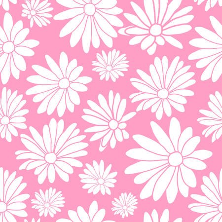 Pink and White Margaret Flower Floral Textile Pattern Background