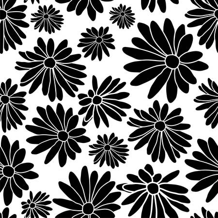 Black and White Flower Floral Textile Repeat Pattern Background Иллюстрация