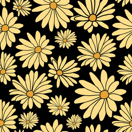 Black Yellow Flower Floral Textile Pattern