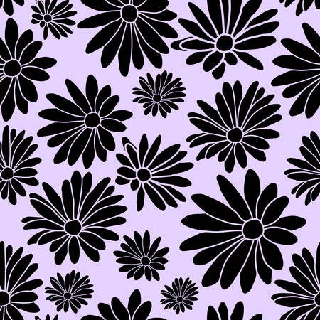 Purple Margaret Flower Floral Textile Repeat Pattern Background