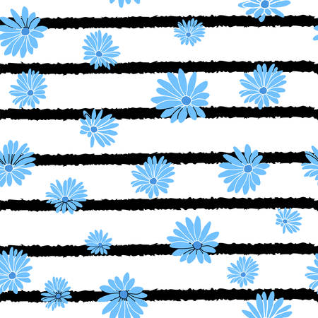 Blue Flower Stripes Floral Textile Repeat Pattern Background