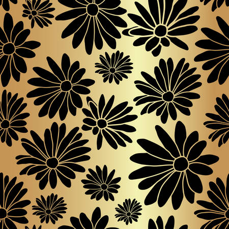 Gold Flower Floral Textile Repeat Pattern Background Иллюстрация