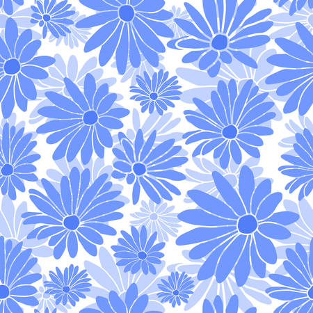 Blue Margaret Flower Floral Textile Repeat Pattern Background
