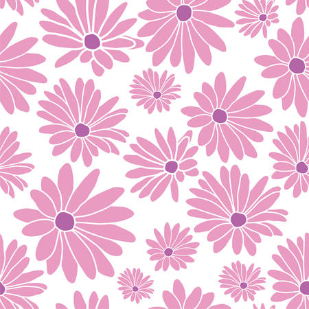 Pink Margaret Flower Floral Textile Repeat Pattern