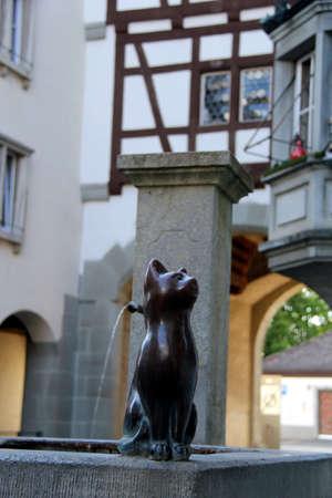 Stein am Rhein Fountain with Cat 写真素材