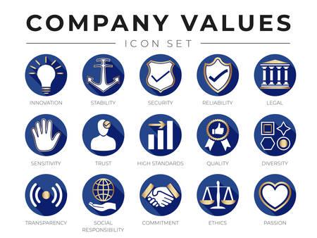 Ensemble d'icônes de valeurs fondamentales de société d'or plat. Innovation, stabilité, sécurité, fiabilité, juridique, sensibilité, confiance, niveau élevé, qualité, diversité, transparence, responsabilité sociale, engagement, éthique, icônes de la passion.