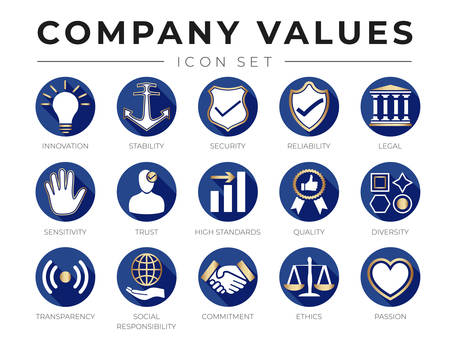 Flat Gold Company Core Values icon Set. Innovation, Stability, Security, Reliability, Legal, Sensitivity, Trust, High Standard, Quality, Diversity, Transparency, Social Responsibility, Commitment, Ethics, Passion Icons.