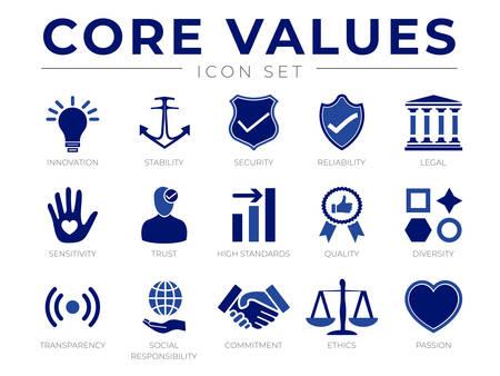 Unternehmenswerte Symbolsatz. Innovation, Stabilität, Sicherheit, Zuverlässigkeit, Recht, Sensibilität, Vertrauen, hoher Standard, Qualität, Vielfalt, Transparenz, soziale Verantwortung, Engagement, Ethik, Leidenschaftssymbole.