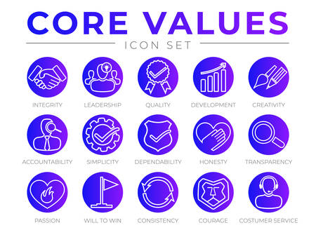 Company Core Values Round Outline Web Icon Set. Integrity, Leadership, Quality and Development, Creativity, Accountability, Simplicity, Dependability, Honesty, Transparency, Passion, Will to win, Consistency, Courage and Customer Service Icons.