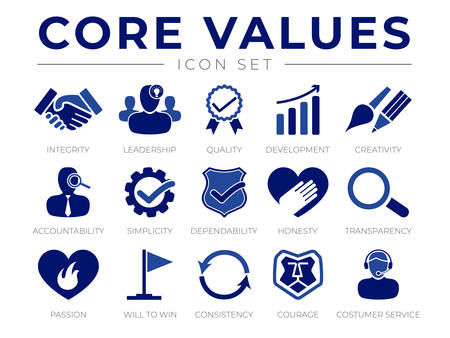 Company Core Values Icon Set. Integrity, Leadership, Quality and Development, Creativity, Accountability, Simplicity, Dependability, Honesty, Transparency, Passion, Will to win, Consistency, Courage and Customer Service Icons.