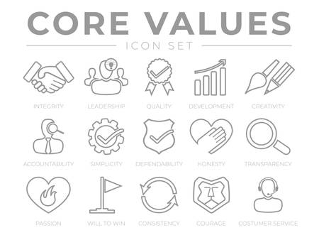 Company Core Values Outline Web Icon Set. Integrity, Leadership, Quality and Development, Creativity, Accountability, Simplicity, Dependability, Honesty, Transparency, Passion, Will to win, Consistency, Courage and Customer Service Icons.