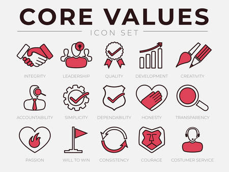 Core Values Retro Icon Set. Integrity, Leadership, Quality and Development, Creativity, Accountability, Simplicity, Dependability, Honesty, Transparency, Passion, Will to win, Consistency, Courage and Customer Service Icons.