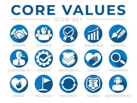 Company Core Values Round Web Icon Set. Integrity, Leadership, Quality and Development, Creativity, Accountability, Simplicity, Dependability, Honesty, Transparency, Passion, Will to win, Consistency, Courage and Customer Service Icons.