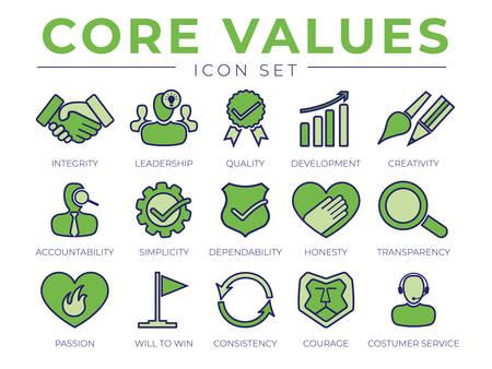 Conjunto de iconos retro de valores centrales verdes. Integridad, Liderazgo, Calidad y Desarrollo, Creatividad, Responsabilidad, Sencillez, Fiabilidad, Honestidad, Transparencia Pasión, Coraje Consistencia Iconos de Servicio al Cliente.