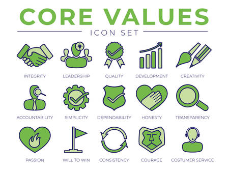 Green Core Values Retro Icon Set. Integrity, Leadership, Quality and Development, Creativity, Accountability, Simplicity, Dependability, Honesty, Transparency Passion, Consistency Courage Customer Service Icons.