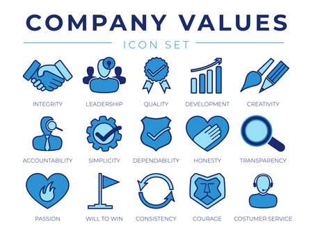 Conjunto de iconos retro de valores fundamentales. Íconos de Integridad, Liderazgo, Calidad y Desarrollo, Creatividad, Responsabilidad, Sencillez, Confiabilidad, Honestidad, Transparencia, Pasión, Ganar, Consistencia, Coraje y Servicio al Cliente.