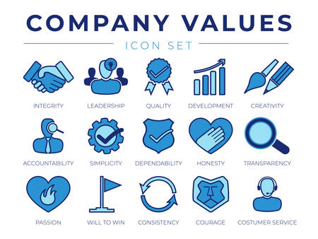 Core Values Retro Icon Set. Integrity, Leadership, Quality and Development, Creativity, Accountability, Simplicity, Dependability, Honesty, Transparency, Passion, Win, Consistency, Courage and Customer Service Icons.