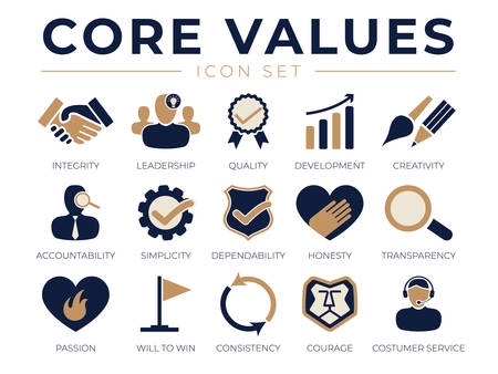 Company Core Values Icon Set. Integrity, Leadership, Quality and Development, Creativity, Accountability, Simplicity, Dependability, Passion, Consistency and Customer Service Icons.