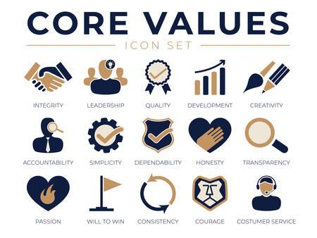 Conjunto de iconos de valores fundamentales de la empresa. Íconos de integridad, liderazgo, calidad y desarrollo, creatividad, responsabilidad, sencillez, confiabilidad, pasión, coherencia y servicio al cliente.