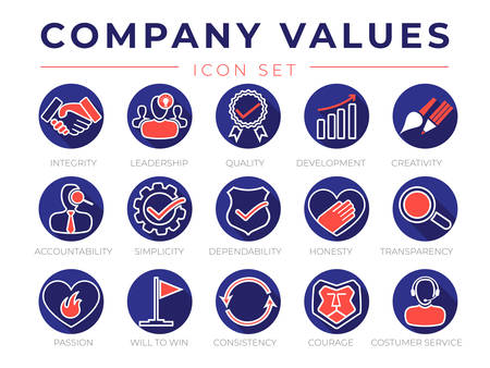 Company Core Values Round Flat Icon Set. Integrity, Leadership, Quality and Development, Creativity, Accountability, Simplicity, Dependability, Honesty, Transparency, Passion, Will to win, Consistency, Courage and Customer Service Icons.