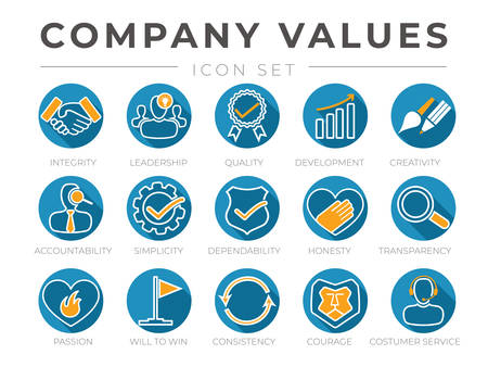 Company Core Values Round Flat Icon Set. Integrity, Leadership, Quality and Development, Creativity, Accountability, Simplicity, Dependability, Honesty, Transparency, Passion Icons. Ilustración de vector