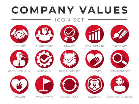 Company Core Values Round Web Icon Set. Integrity, Leadership, Quality and Development, Creativity, Accountability, Simplicity, Dependability, Honesty, Transparency Passion Consistency, Courage Customer Service Icons.