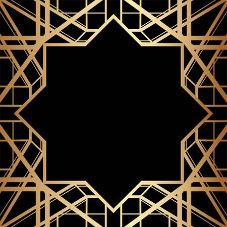 Geometric Gatsby Art Deco Style Border Frame Design Ilustracje wektorowe