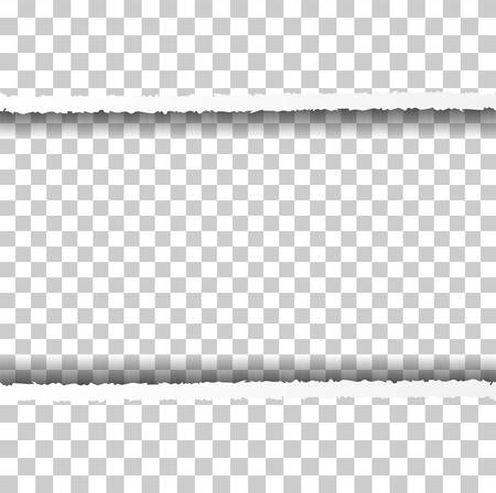 Straight Ripped Paper Border with Shadows Isolated on Transparent Background. Realistic Horizontal Paper Edge