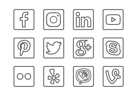 Novi Sad, Serbia - 11 02 2018: Social Media Outline Icon Set with Facebook, Instagram, Youtube, Linkedin, Twitter and Other Icons Editorial