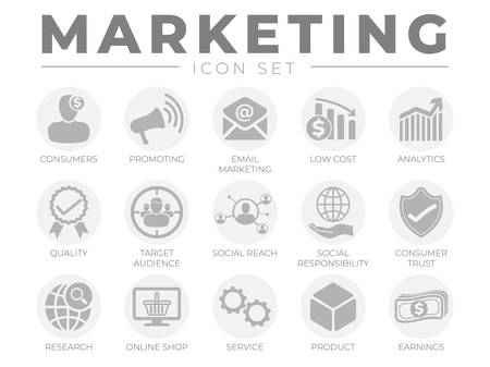 Round Marketing Icon Set. Consumers, Promotion, Email Marketing, Low Cost, Analytics, Quality, Target Audience, Social, Trust, Research, Online Shop, Service, Product, Webshop and Earning Icons