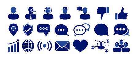Blue Social Media Icon Set with People, Chat, Thumbs Up, Like Icons