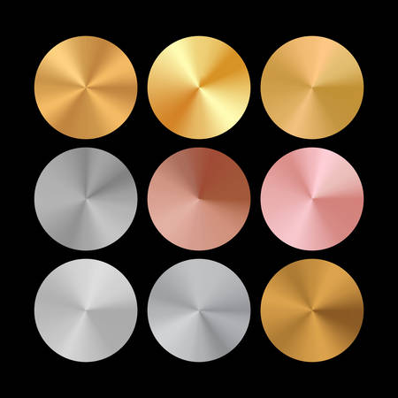 Conical Metal Gradient Collection of Rose Gold, Golden and Silver Circles