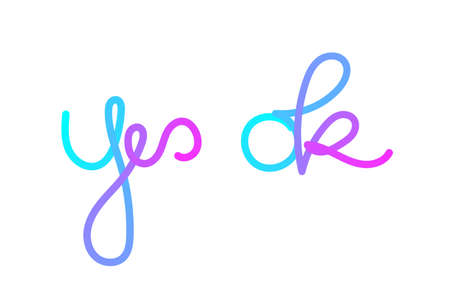 Yes and Ok Lettering with Neon Gradient Color