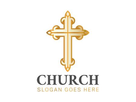 Elegant Christian Church Logo with Cross  イラスト・ベクター素材