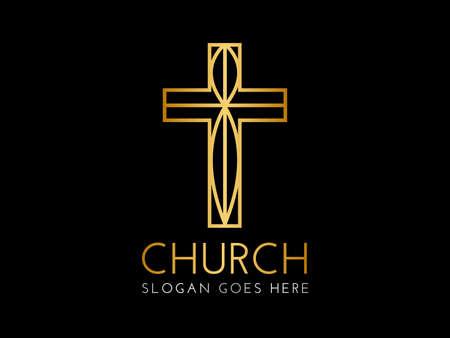 Elegant Christian Church Logo with Cross Illustration
