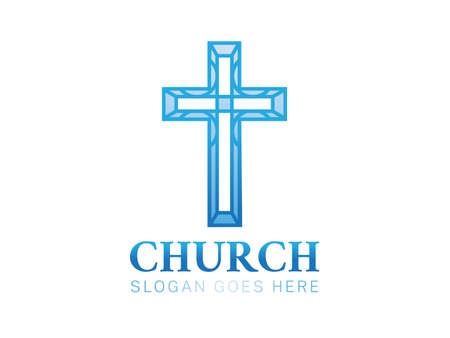 Blue Crhristian Church Logo with Cross