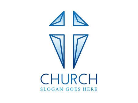 Negative Space Crhristian Cross  Church Logo  イラスト・ベクター素材