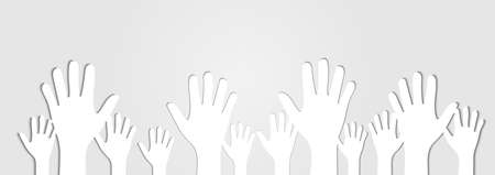 Human Hands Raised Up Cutout on Light Gray Background