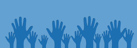 Human Hands Raised Up Cutout on Blue  Background