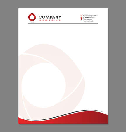 Blank Red Letterhead Template with Circle Logo