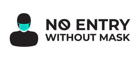 No Entry Without Mask Covid Coronavirus Illustration Illusztráció