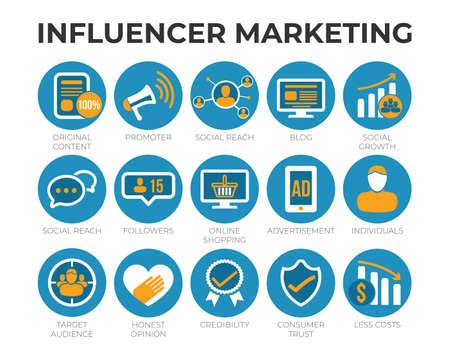 Influencer Marketing Icon Set with SEO, Email Marketing, Web Design, Analytics, Social Media and other Icons. Illusztráció