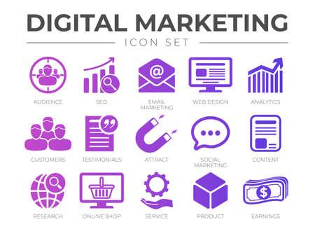 Digital Marketing Icon Set. SEO, Email Marketing, Web Design, Analytics, Audience, Customers, Testimonials, Attract, Social Marketing, etc Icons. Illusztráció