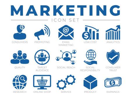 Marketing Icon Set. Promotion, Email Marketing, Costs, Analytics, Audience, Webshop and other Icons. Illusztráció