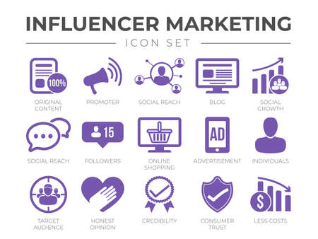Influencer Marketing icon Set. Content, Promoter, Social Reach, Blog, Growth, Conversation, Followers, Online Shopping, Advertisement, Individuals, Audience, Responsibility, Credibility, Consumer Trust, Less Costs.