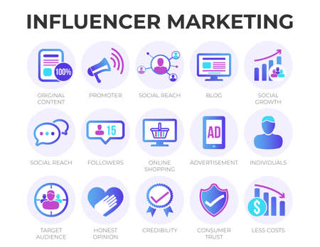 Modern Digital Influencer Marketing Icon Set with SEO, Email Marketing, Web Design, Analytics, Social Media and other Icons.