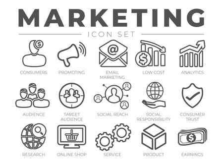 Thin Marketing Line Icon Set Illusztráció