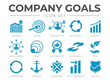 Business Goals Icon Set Vettoriali