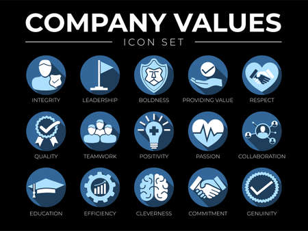 Business Company Values Icon Set. Integrity, Leadership, Boldness, Value, Respect, Quality, Teamwork, Positivity, Passion, Collaboration, Education, Efficiency, Cleverness, Commitment, Genuine Icons.